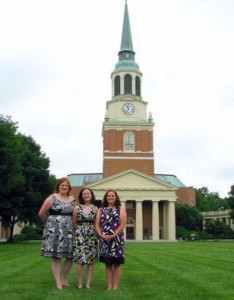 Sarah Neggers, Leslie Parker, and Mary Beth White on the quad in front of Wait Chapel.